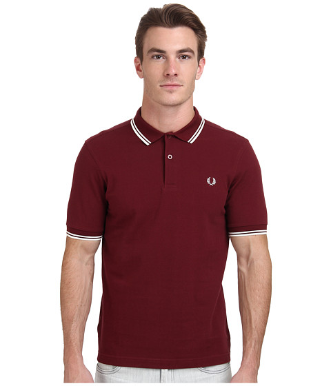 Fred Perry - Slim Fit Twin Tipped Fred Perry Polo (Port/Ecru) Men's Short Sleeve Knit