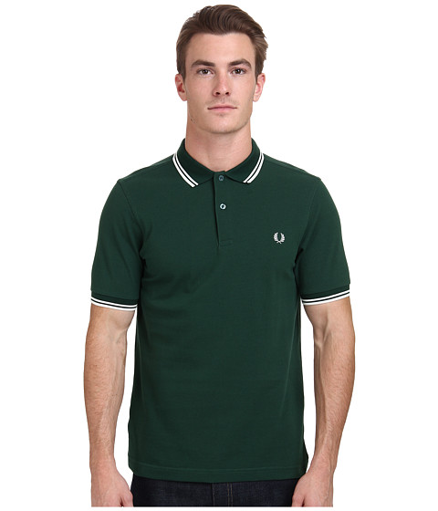 Fred Perry - Slim Fit Twin Tipped Fred Perry Polo (Ivy/Snow White) Men