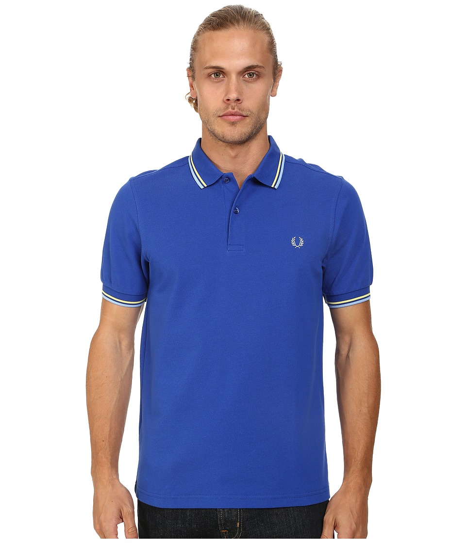 Fred Perry - Slim Fit Twin Tipped Fred Perry Polo (Regal/Soft Yellow/Sky Blue) Men's Short Sleeve Knit