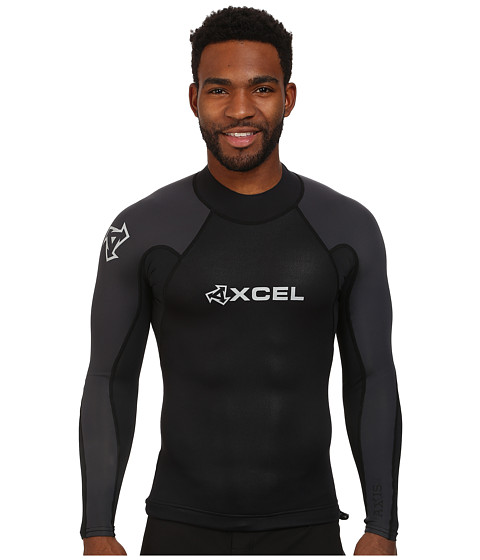 XCEL Wetsuits - 1/0.5mm Axis Neostretch L/S Top (Black/Black/Graphite) Men's Swimwear