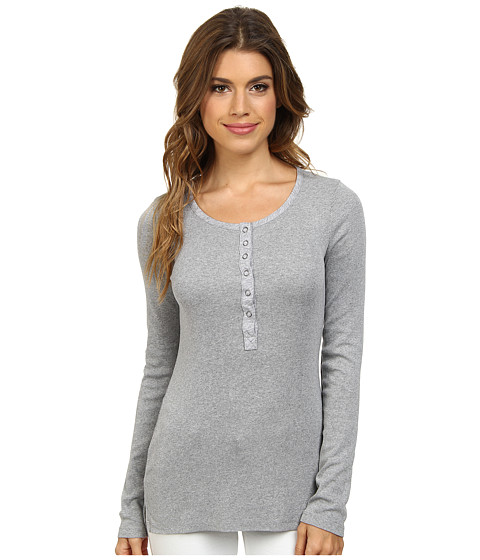 Splendid - Ribbed Long Sleeve Henley (Heather Grey) Women's Clothing