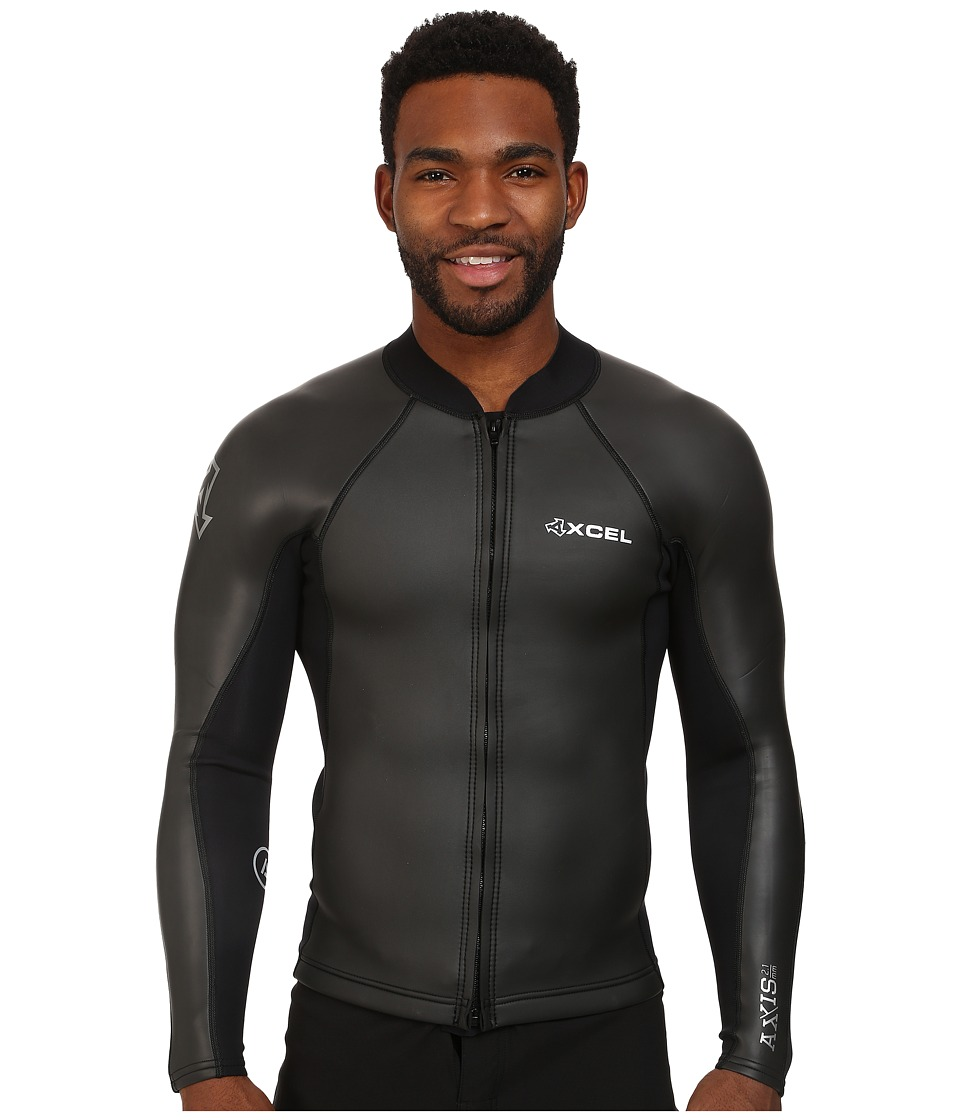 XCEL Wetsuits - 2/1mm Axis Smoothskin Front Zip L/S Top (All Black w/ Silver Ash Logos) Men's Swimwear