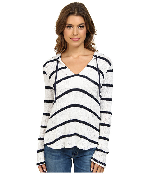Splendid - Serengeti Stripe Loose Knit Hoodie (Soft White) Women's Sweatshirt