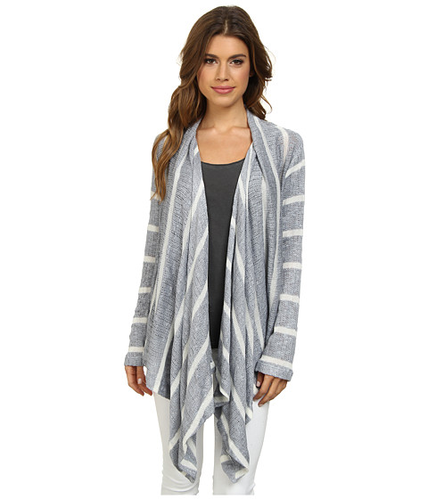 Splendid - Serengeti Stripe Loose Knit Cardigan (Grey) Women's Sweater
