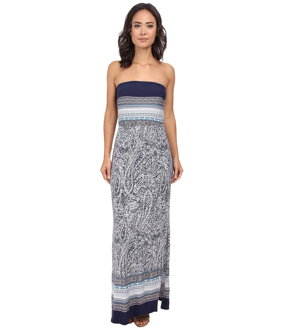 Gabriella Rocha - Strapless Printed Maxi Dress (Navy/Off White) Women's Dress