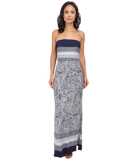 Gabriella Rocha - Strapless Printed Maxi Dress (Navy/Off White) Women