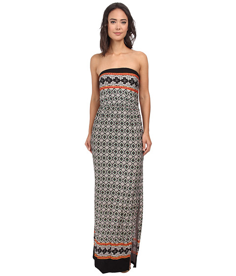 Gabriella Rocha - Strapless Printed Maxi Dress (Black/Ivory Multi) Women's Dress
