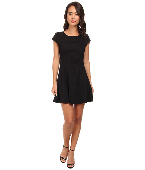 Brigitte Bailey - Cap Sleeved Dress (Black) Women's Dress