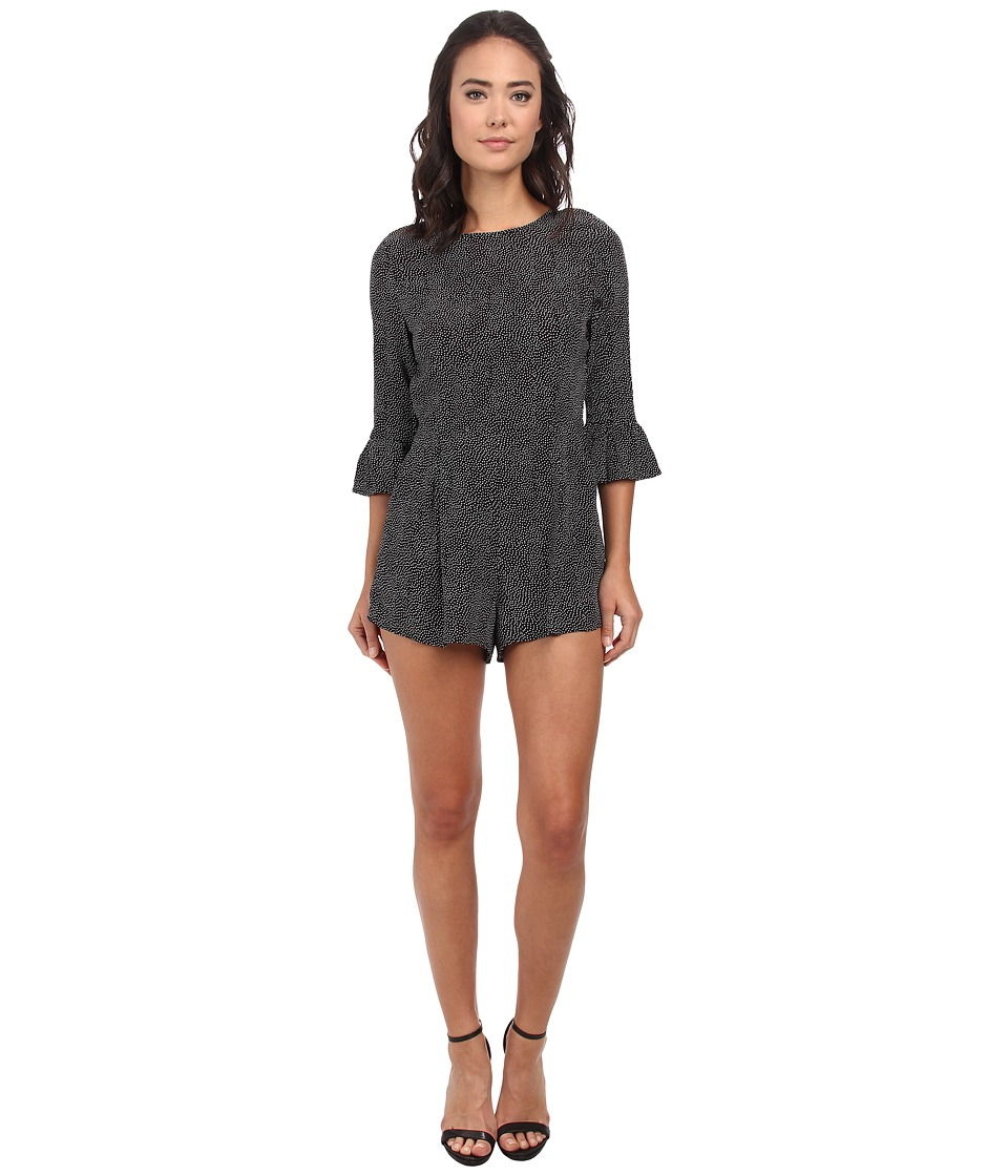 Gabriella Rocha - Long Sleeve Polka Dot Romper (Black White) Women