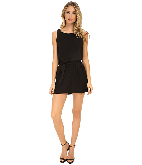 Brigitte Bailey - Solid Romper with Tie Belt (Black) Women
