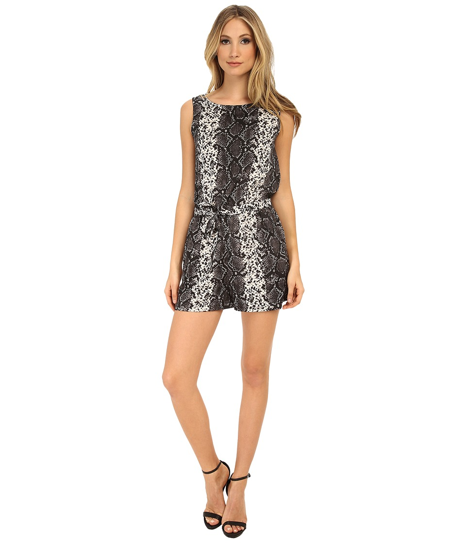 Brigitte Bailey - Printed Romper with Tie Belt (Gray Scale) Women's Jumpsuit & Rompers One Piece