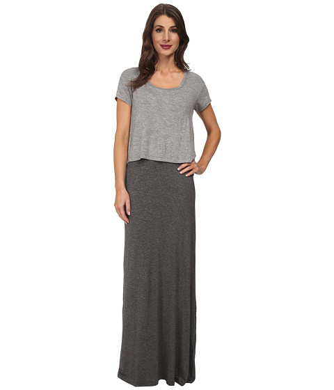 Splendid - Maxi Double Layer Dress (Heather Grey) Women's Dress