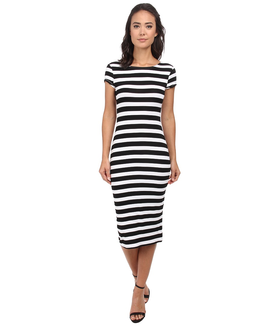 Brigitte Bailey - S/S Striped Dress (Black) Women's Dress