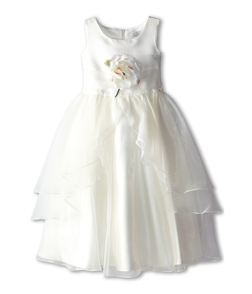 Us Angels - Tank Top Dress w/ Layers of Organza Skirt (Little Kids) (Ivory/Ivory) Girl's Dress