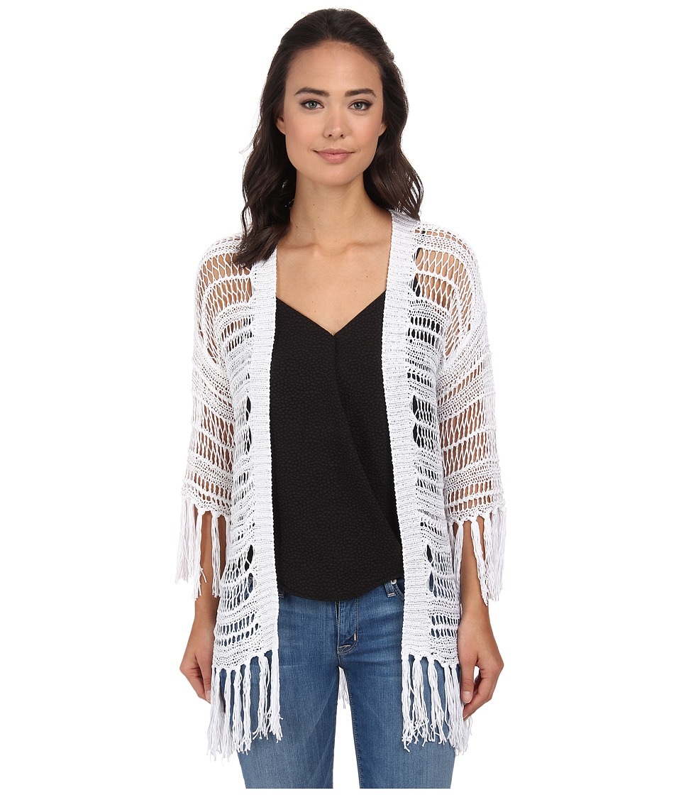 Gabriella Rocha - Crochet Fringe Cardi Knit (White) Women's Sweater