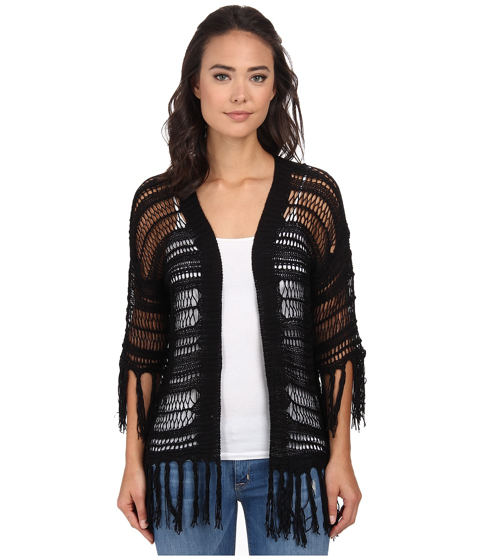 Gabriella Rocha - Crochet Fringe Cardi Knit (Black) Women's Sweater