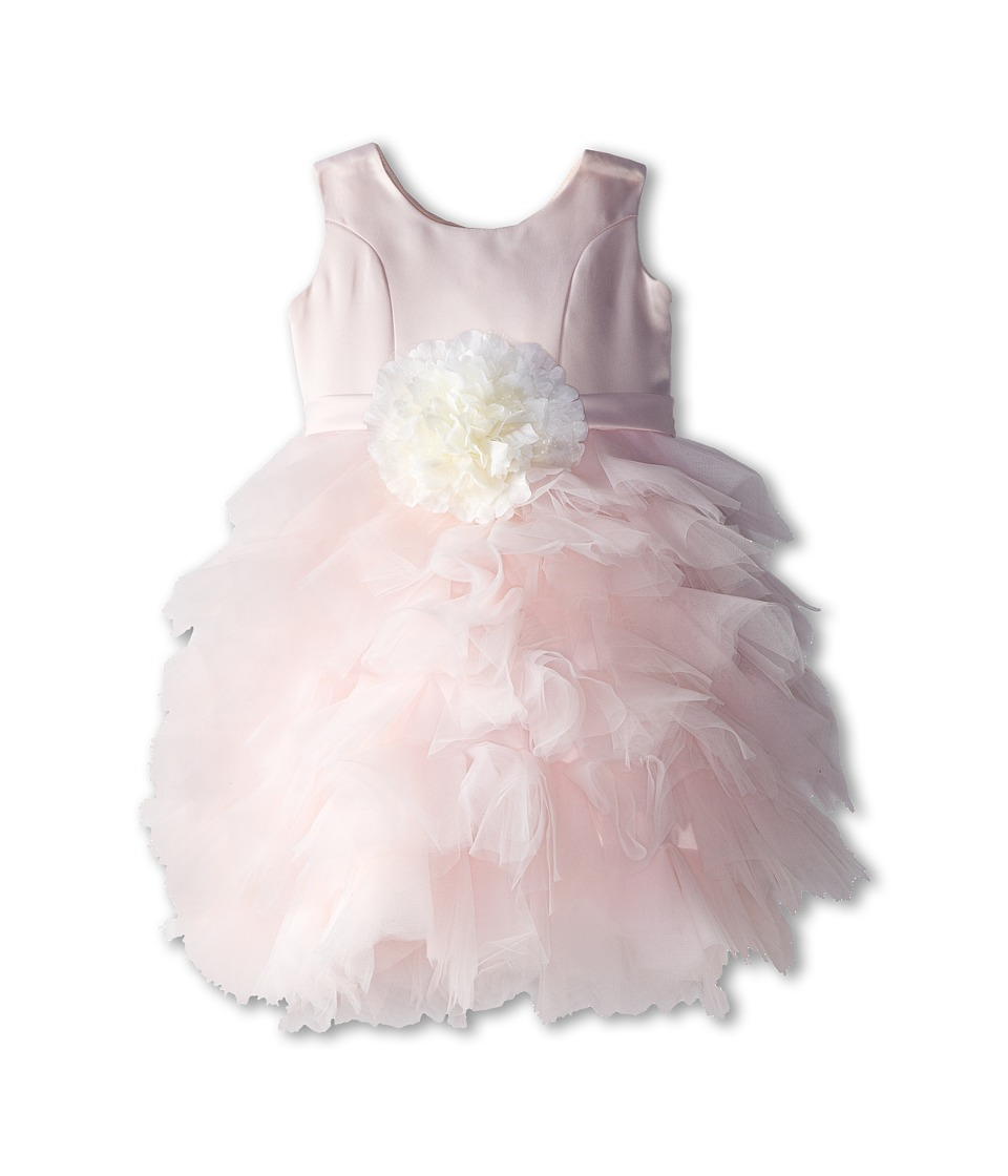 Us Angels - Satin and Tulle Dress w/ Flower (Toddler) (Blush Pink) Girl's Dress