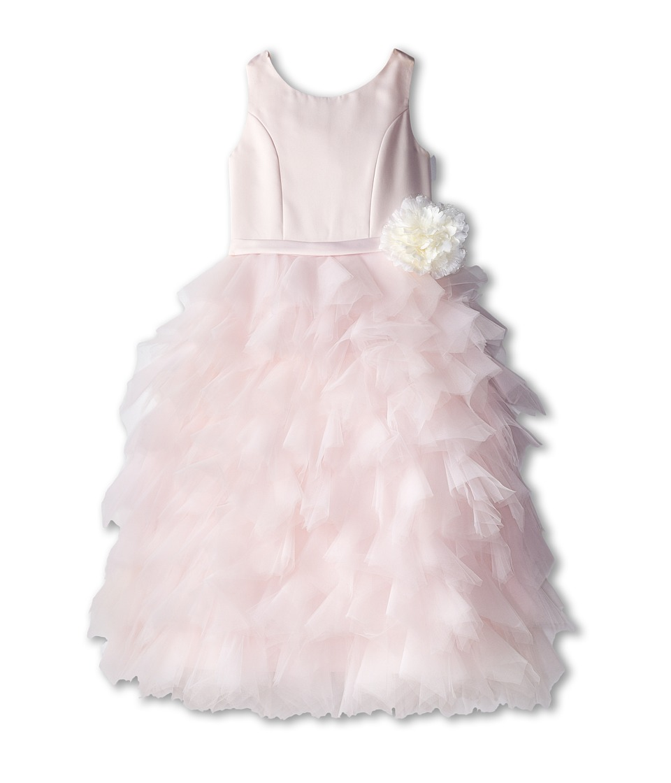 Us Angels - Satin and Tulle Dress w/ Flower (Big Kids) (Blush Pink) Girl's Dress