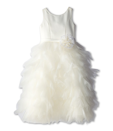 Us Angels - Satin and Tulle Dress w/ Flower (Big Kids) (Ivory) Girl