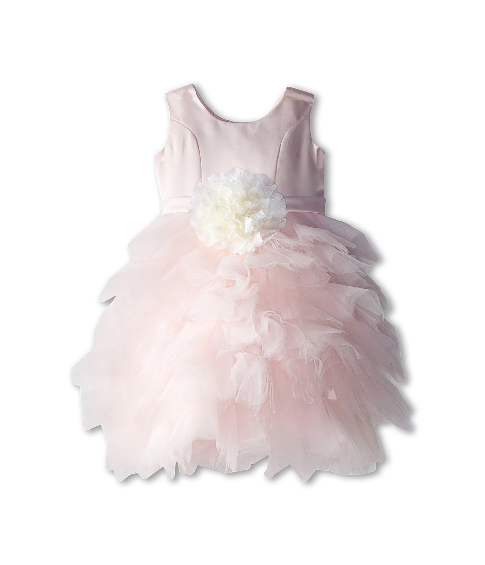 Us Angels - Satin and Tulle Dress w/ Flower (Little Kids) (Blush Pink) Girl's Dress