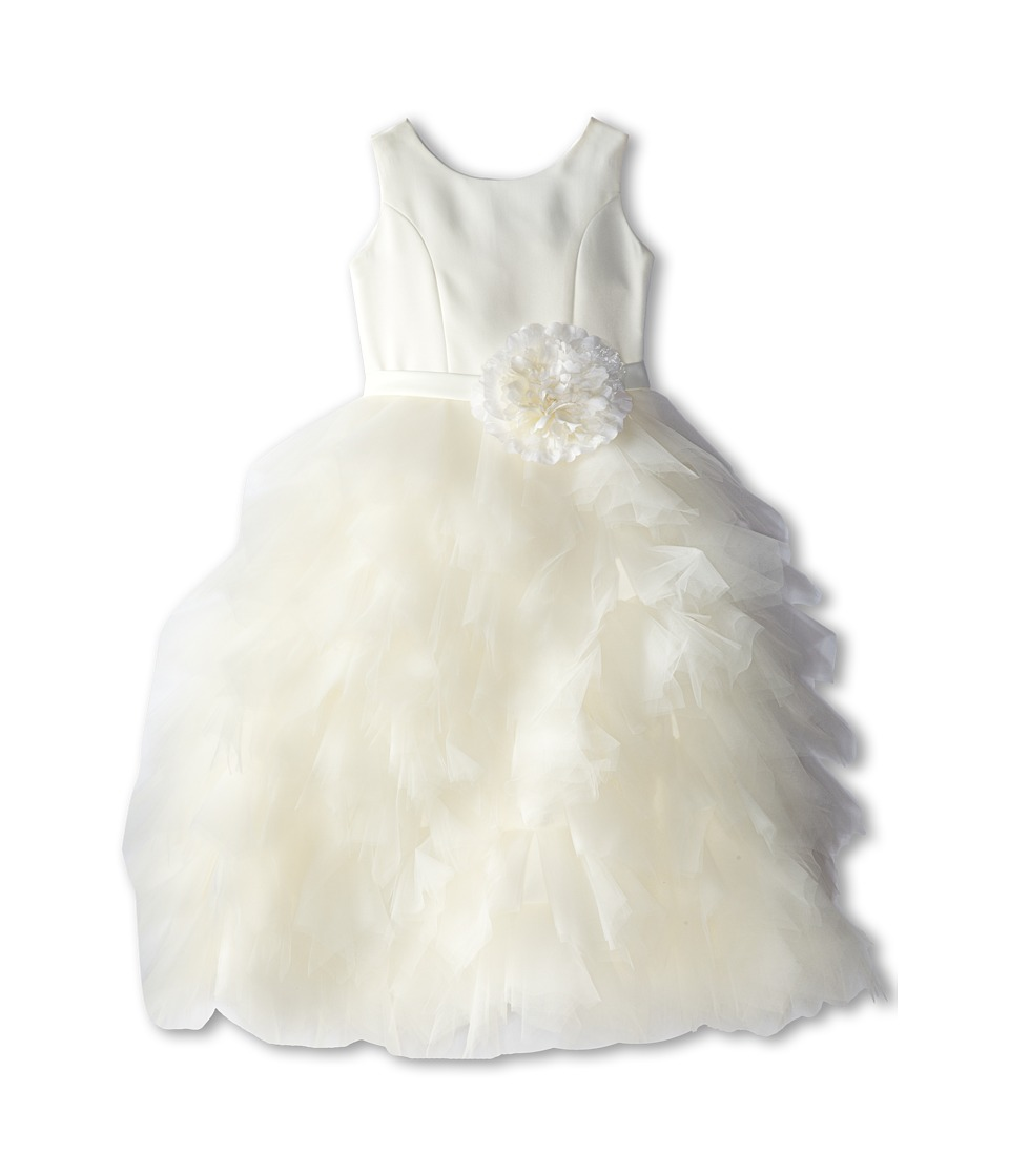 Us Angels - Satin and Tulle Dress w/ Flower (Little Kids) (Ivory) Girl's Dress