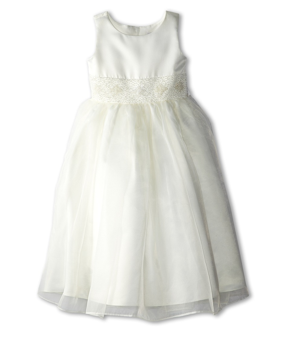 Us Angels - Bead Sash Organza Dress (Little Kids) (Ivory) Girl's Dress