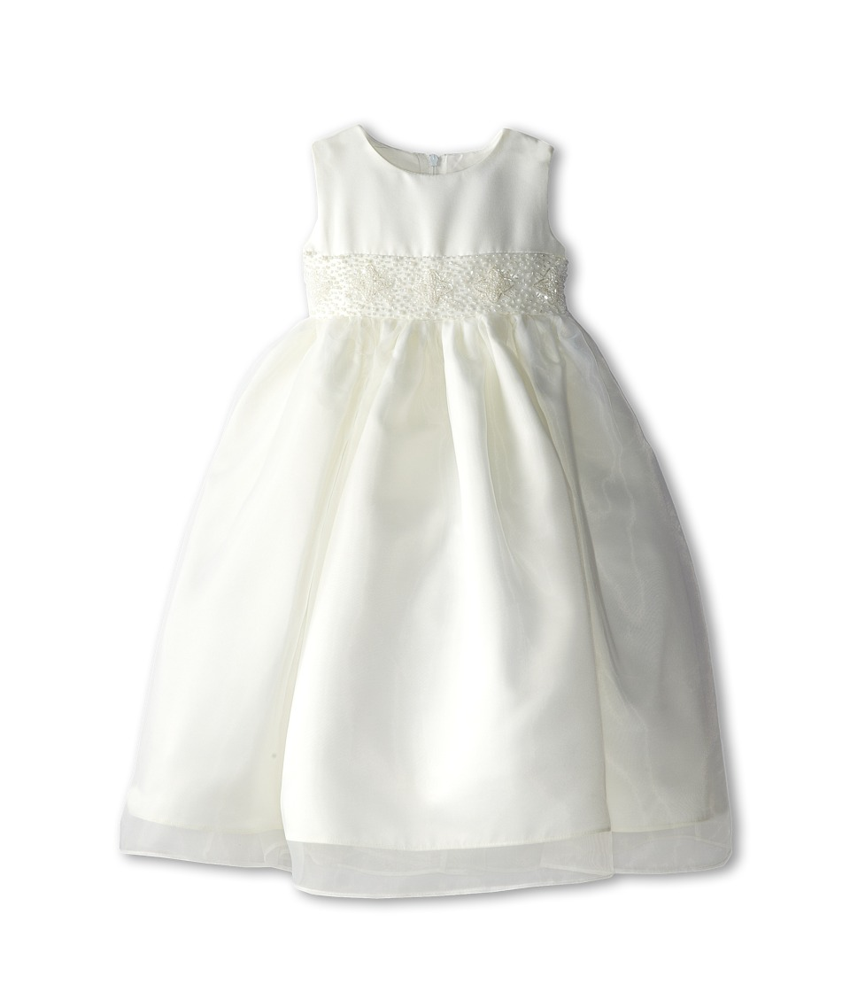 Us Angels - Bead Sash Organza Dress (Toddler) (Ivory) Girl