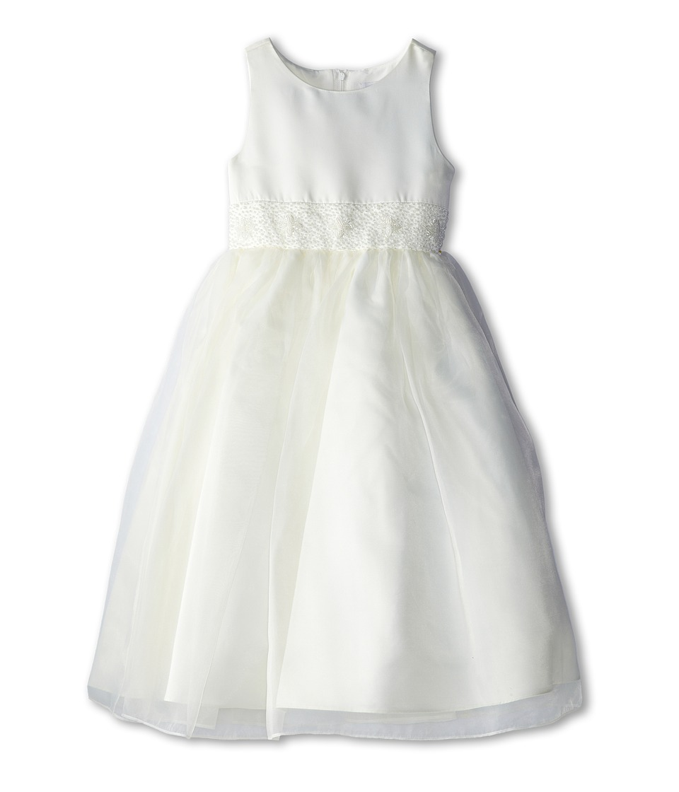 Us Angels - Bead Sash Organza Dress (Big Kids) (Ivory) Girl's Dress