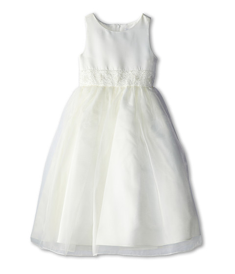 Us Angels - Bead Sash Organza Dress (Big Kids) (Ivory) Girl