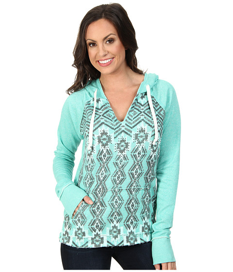 Rock and Roll Cowgirl - L/S Pullover (Bright Turquoise) Women's Long Sleeve Pullover