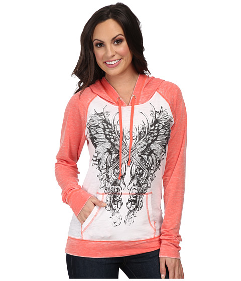 Rock and Roll Cowgirl - L/S Pullover (Bright Coral) Women's Long Sleeve Pullover