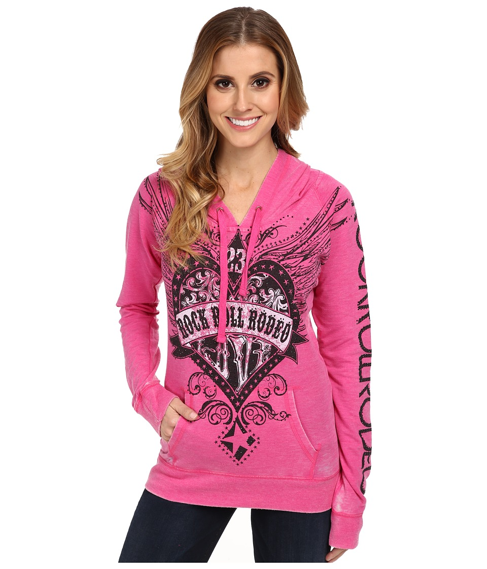 Rock and Roll Cowgirl - L/S Pullover (Hot Pink) Women's Long Sleeve Pullover