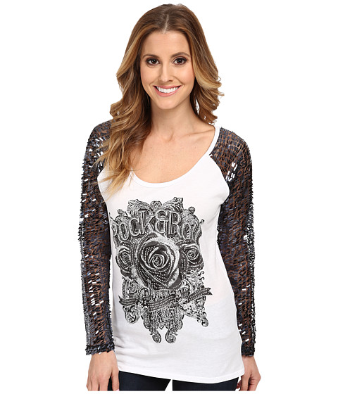 Rock and Roll Cowgirl - Sequin L/S Knit (White) Women's Clothing