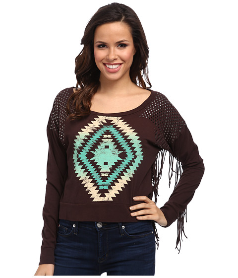 Rock and Roll Cowgirl - L/S Sweater (Chocolate) Women's Sweatshirt
