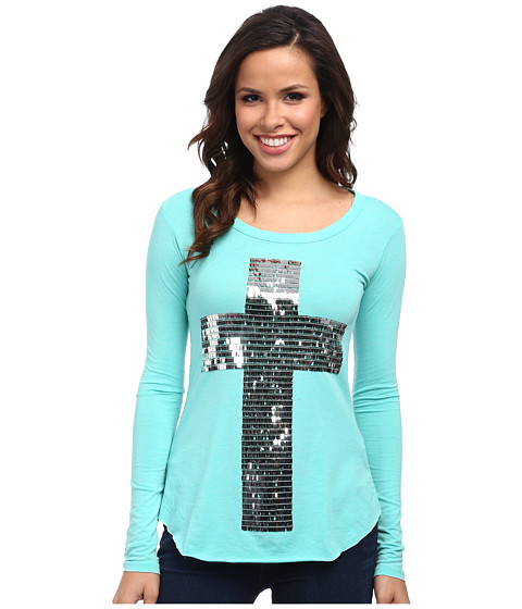 Rock and Roll Cowgirl - L/S T-Shirt (Mint) Women's Long Sleeve Pullover