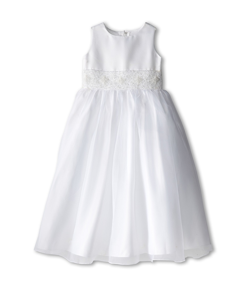Us Angels - Sleeveless with Beaded Cumberbund Dress (Little Kids) (White) Girl's Dress