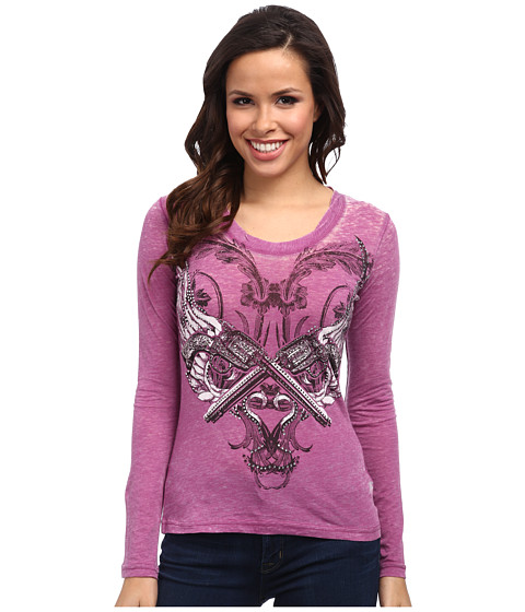Rock and Roll Cowgirl - L/S T-Shirt (Dark Orchid) Women's Long Sleeve Pullover