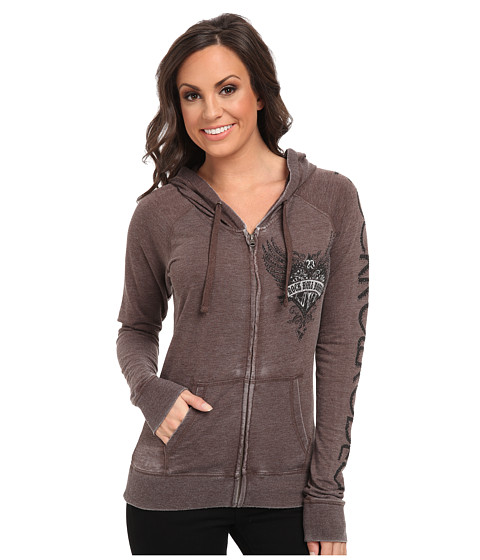 Rock and Roll Cowgirl - L/S Zip Up Hoodie (Chocolate) Women's Sweatshirt