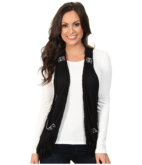 Rock and Roll Cowgirl - Vest with Beads (Black) Women's Vest