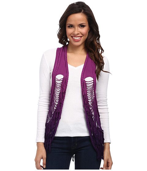 Rock and Roll Cowgirl - Vest Dip Dye Fringe (Plum) Women's Vest