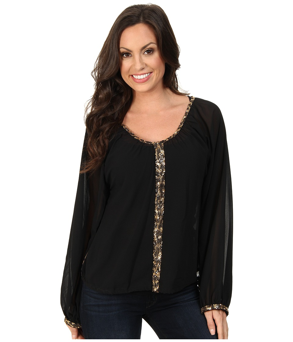 Rock and Roll Cowgirl - L/S Blouse (Black) Women's Blouse