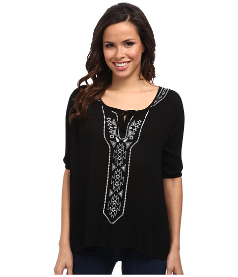 Rock and Roll Cowgirl - 3/4 Sleeve Blouse (Black) Women's Blouse