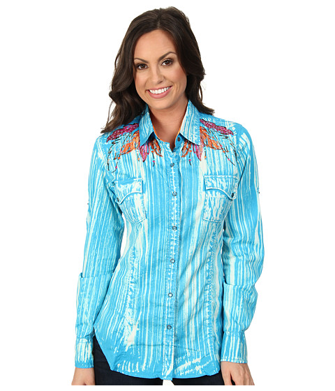 Rock and Roll Cowgirl - L/S Snap (Turquoise) Women's Long Sleeve Button Up