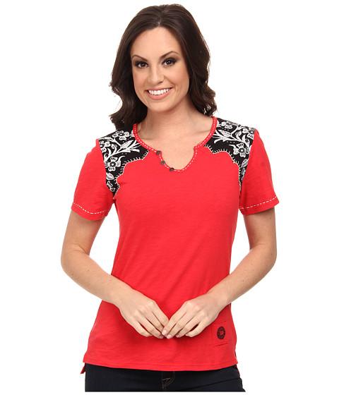 Double D Ranchwear - Tejas Longhorn Tee (Prairie Poppy) Women's T Shirt