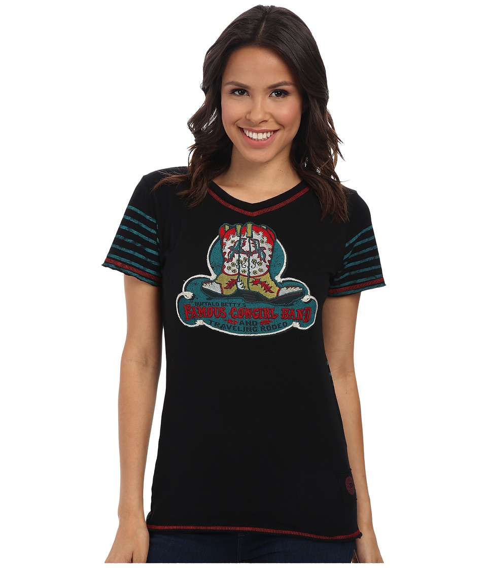 Double D Ranchwear - Famous Cowgirl Band Tee (Black) Women's T Shirt