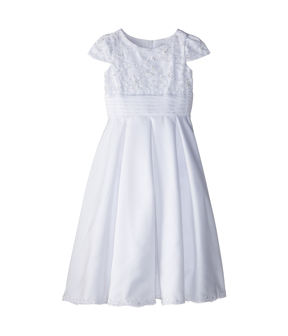 Us Angels - Cap Sleeve Lace Bodice w/ Box Pleat Dress (Big Kids) (White) Girl