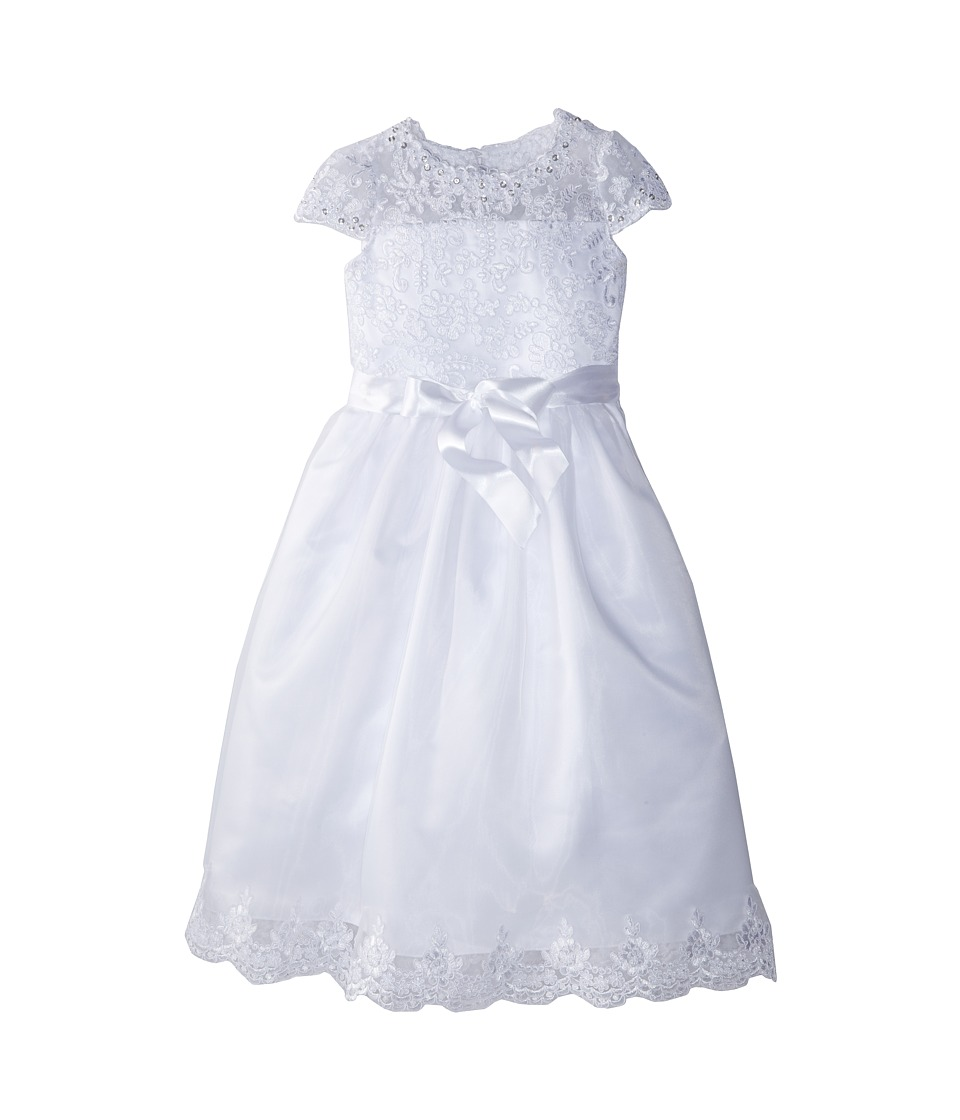 Us Angels - Cap Sleeve Illusion Lace Bodice w/ Full Skirt Lace Hem Dress (Big Kids) (White) Girl's Dress