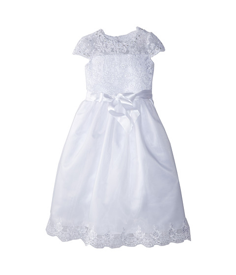 Us Angels - Cap Sleeve Illusion Lace Bodice w/ Full Skirt Lace Hem Dress (Big Kids) (White) Girl