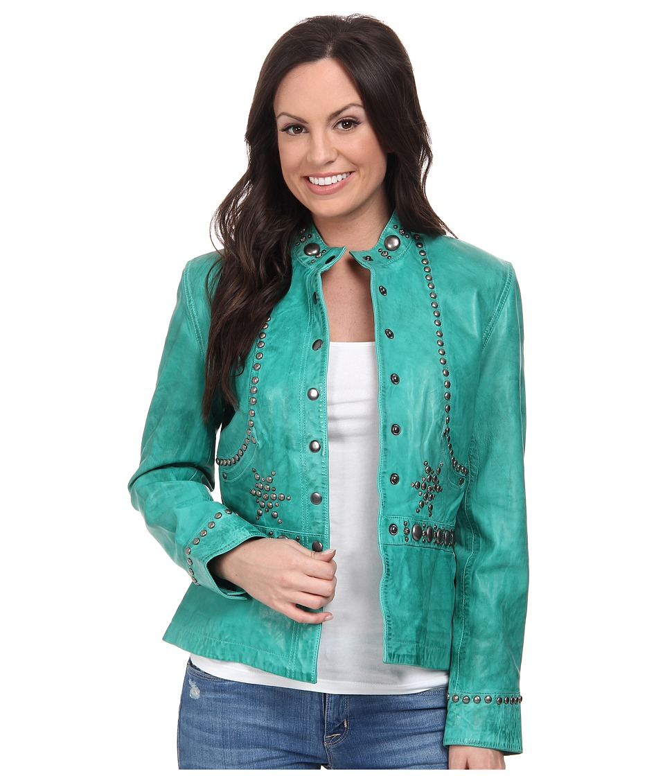 Double D Ranchwear - Git Along Lil' Doggie Jacket (Tenderfoot Teal) Women's Coat