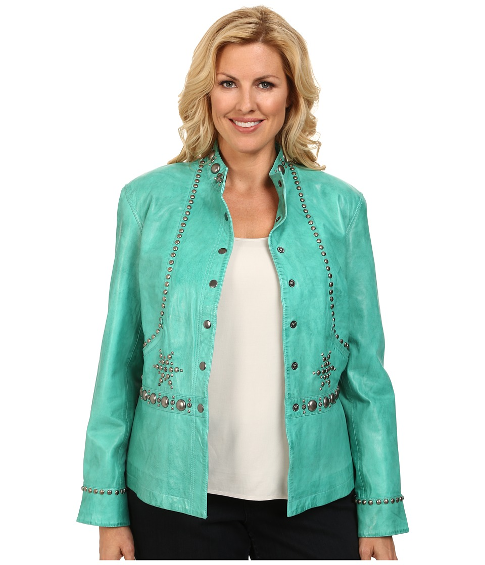 Double D Ranchwear - Plus Size Git Along Lil' Doggie Jacket (Tenderfoot Teal) Women's Coat